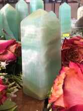 Pistachio Calcite Tower ~ Transformation, emotional healing & sacred heart opening (#8)