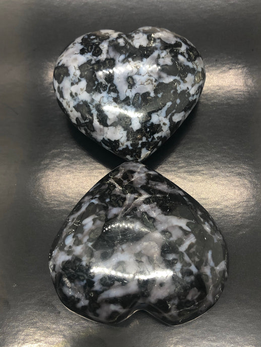 Merlinite Hearts (Large) ~ magic, abundance, intuition, past life recall, elemental & dimensional connections