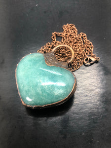 Amazonite Heart Necklace (#4) ~ crystal of courage & truth