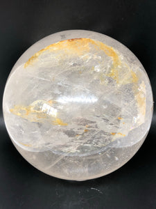 Clear Quartz Sphere with citrine inclusions (XL) ~ healing, harmony, programable, abundance (2)