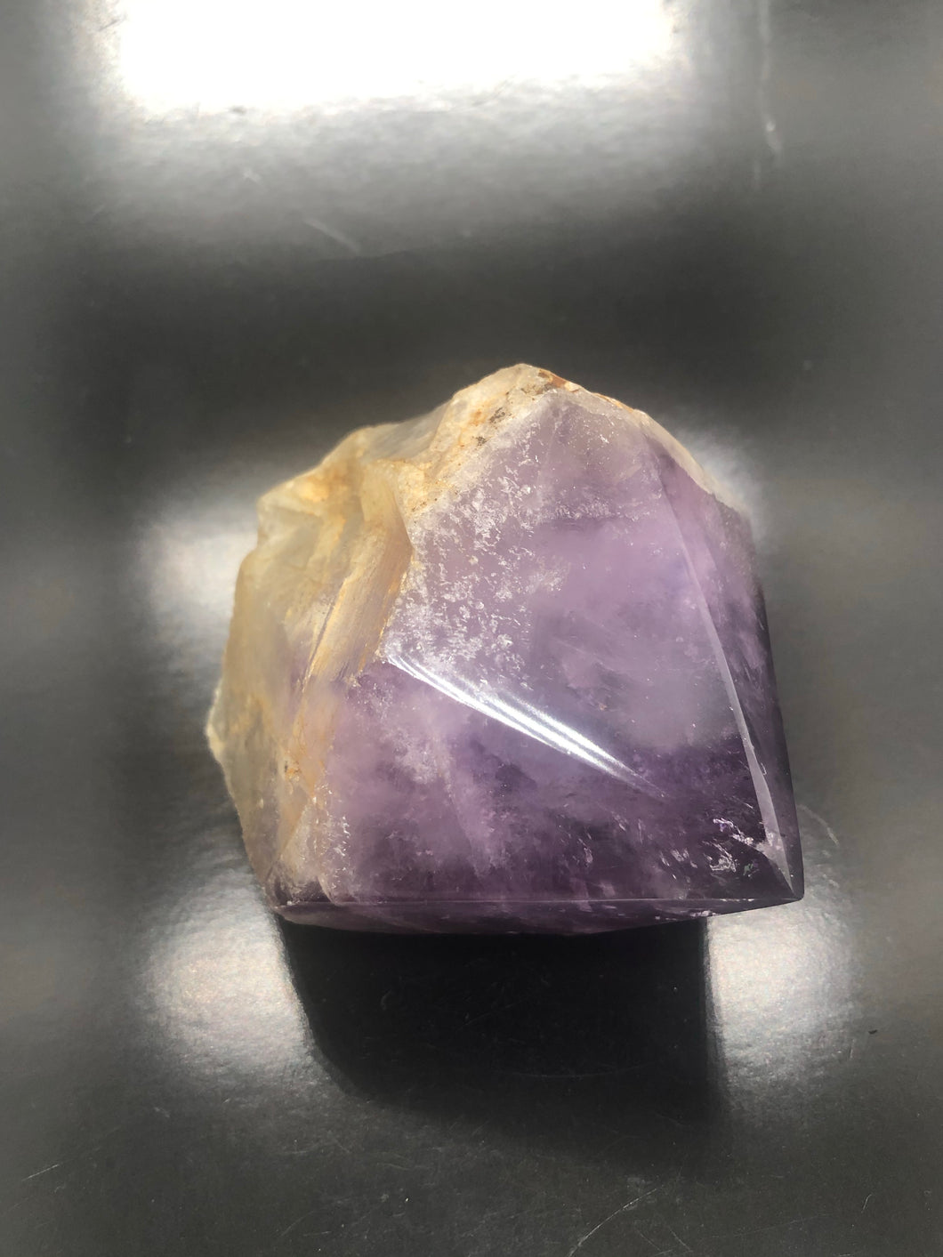Natural Amethyst with polished Point (channeling Keys & striations)~ Expansion, Release, Clearing, Freedom, Possibility & Divine Wisdom (48)