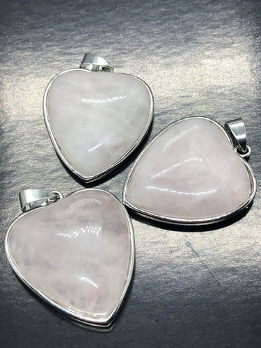 Rose Quartz Heart Pendant ~ love, love & love (1)