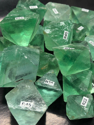 Emerald Green Fluorite Octahedrons ~ mental achievements, expanded consciousness & heart healing