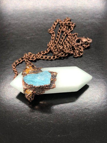 Smithsonite & Aquamarine Necklace ~ Extreme Calm, soft, gentle, kind, loving & supportive (#2)