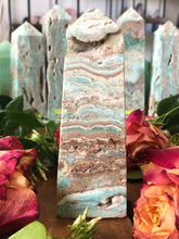 Banded Blue Aragonite Tower ~ Soothing, calm, peace, embracing imperfections & truth speaking (#6)