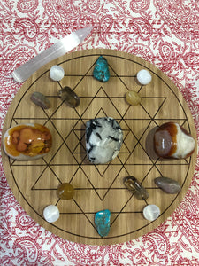 Bamboo Crystal grid, 30cm ~ Sri Yantra (instrument for wealth)