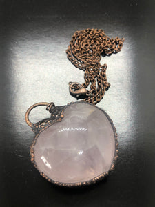 Puff Rose Quartz Heart Necklace ~ Unconditional love, kindness, compassion, support & forgiveness (#3)