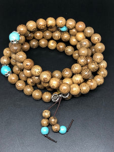 Sandalwood mala bead necklace