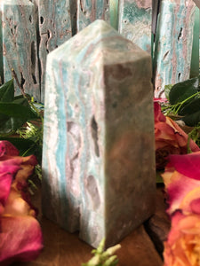 Banded Blue Aragonite Tower ~ Soothing, calm, peace, embracing imperfections & truth speaking (#5)