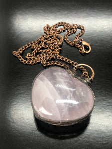 Puff Rose Quartz Heart Necklace ~ Unconditional love, kindness, compassion, support & forgiveness (#5)