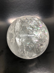 Brazilian Clear Quartz Sphere with rainbows (6.6cm diameter) ~ Truth, abundance, power & amplification (#6A)