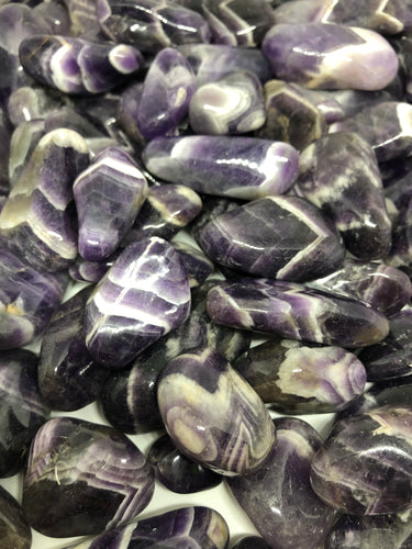 Chevron Amethyst Tumbles ~ divine connection, boundaries, healing and calming