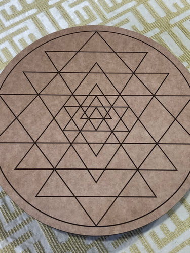 Crystal grid, 30cm ~ Sri Yantra (instrument for wealth)