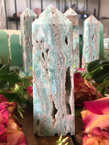 Banded Blue Aragonite Tower ~ Soothing, calm, peace, embracing imperfections & truth speaking (#7)