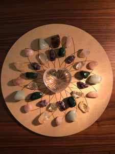 Crystal grid, 30cm ~ Lotus Flower (beauty, purity, spiritual ascension, prosperity, well being & longevity)