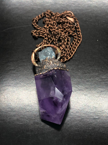 Soul Awakening, Amethyst & Aquamarine Necklace ~ with a channeling window (#2)