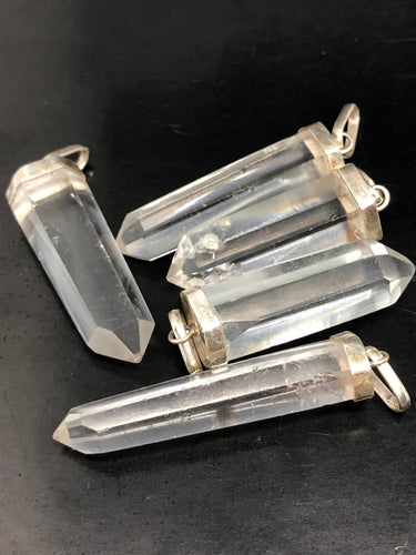 Clear Quartz, Isis Point Pendants (medium) ~ with silver cap (2)