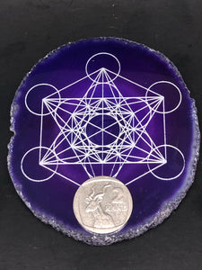 Purple Agate Plate Grid (small) ~ Metatrons Cube (connect to the angelic realm, protection & spiritual wisdom)