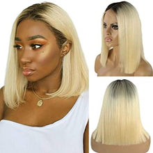 Load image into Gallery viewer, 1B/613 Brazilian Straight Lace Front Bob Wig, Brazilian Straight Lace Front Wig- Brazilian Lace Front Wig Hair extensions, body wave, human hair wigs, natural hair, wavy hair, curly hair, straight hair, hair, wig, wigs, wig store -Dynasty Goddess Hair