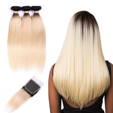 Load image into Gallery viewer, Ombre Blonde 1B/613 Ombre Straight Hair Extensions- blonde hair extensions, Extensions, Weave hair, Weaves, clip in hair extensions, hair weave, human hair weave, ombre Hair, 613 extensions -Dynasty Goddess Hair