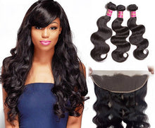 Load image into Gallery viewer, Peruvian Lace Frontals - Body Wave- Peruvian Hair Extensions, Arjuni hair, burmese hair, hair supplier, hair exporter, hair frontal wefts, lace frontals -Dynasty Goddess Hair