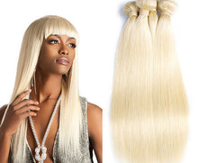 Load image into Gallery viewer, Russian Blonde 613 Straight Hair Extensions- blonde hair extensions, Extensions, Weave hair, Weaves, clip in hair extensions, hair weave, human hair weave, hair store, 613 extensions -Dynasty Goddess Hair