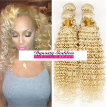 Load image into Gallery viewer, Russian Blonde 613 Deep Curl Hair Extensions- blonde hair extensions, Extensions, Weave hair, Weaves, clip in hair extensions, hair weave, human hair weave, hair store, 613 extensions -Dynasty Goddess Hair