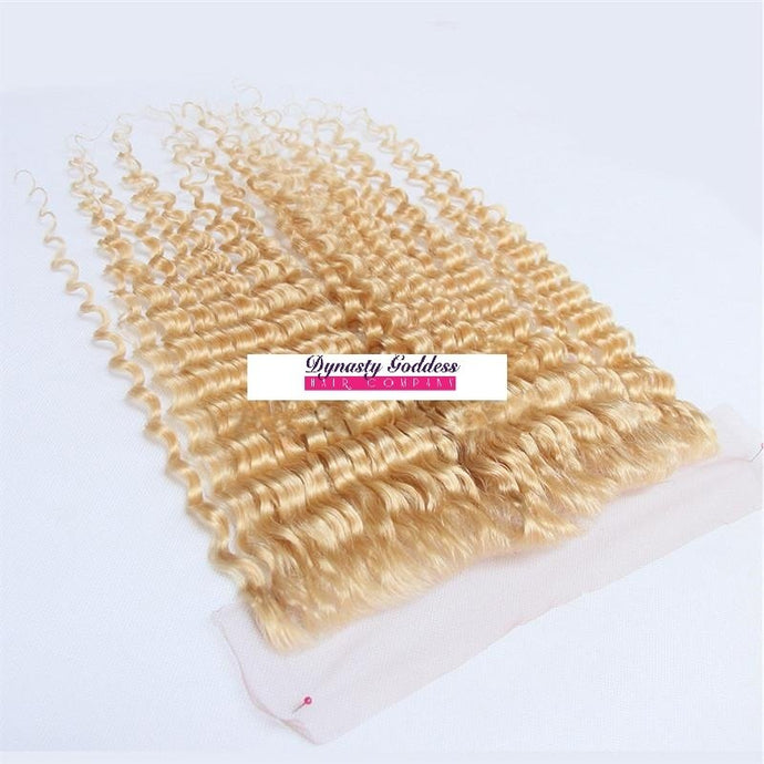 Russian Blonde 613 Lace Frontal - Deep Curl- Blonde 613 Hair Extensions, Arjuni hair, burmese hair, hair supplier, hair exporter, hair closure wefts, lace closure -Dynasty Goddess Hair