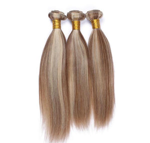 Highlight Color (8/613)- 3 Bundles + 1 Closure Brazilian Straight ,Brazilian Hair Extensions, Arjuni hair, burmese hair, hair supplier, hair exporter, hair frontal wefts, 360 lace frontal-Dynasty Goddess Hair