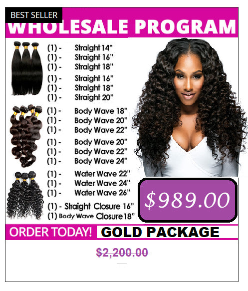 Wholesale Hair Extensions Gold Package- Brazilian hair extensions, human hair wigs, natural hair, wavy hair, curly hair, straight hair, hair, wig, wigs, wig store -Dynasty Goddess Hair