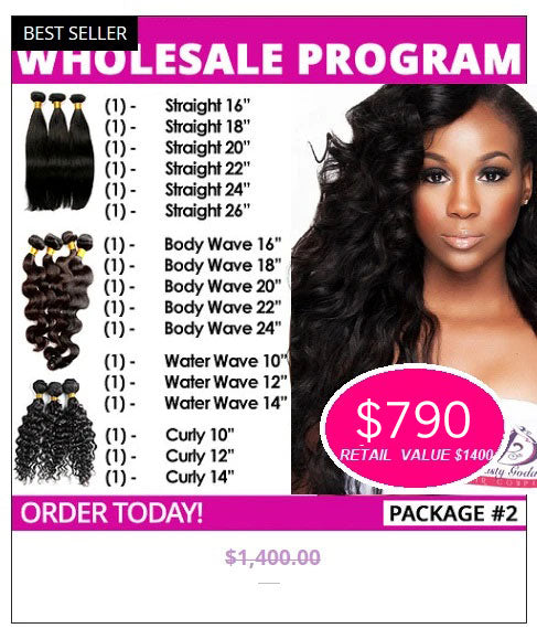 Wholesale Hair Extensions Package #2- Brazilian hair extensions, human hair wigs, natural hair, wavy hair, curly hair, straight hair, hair, wig, wigs, wig store -Dynasty Goddess Hair
