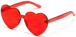Red Heart Shaped Transparent Wholesale Sunglasses