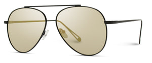 Black Frame Gold Lens Single Bridge Wholesale Aviator Sunglasses