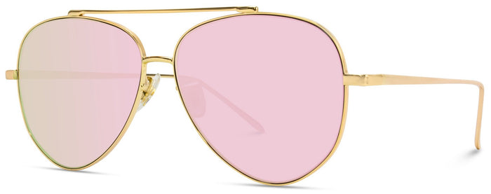 AVI019 Gold Frame Mirror Lens Aviators for Women