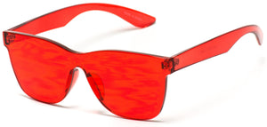 Transparent Red Square Frame Sunglasses