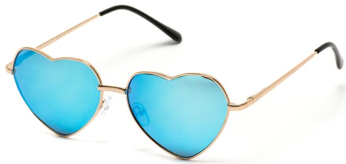 WOM001 Women's Heart Shaped Mirror Lens Sunglasses