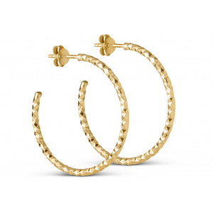 ENAMEL Copenhagen Hoops, Diamond Cut Large Earrings 925S/GP