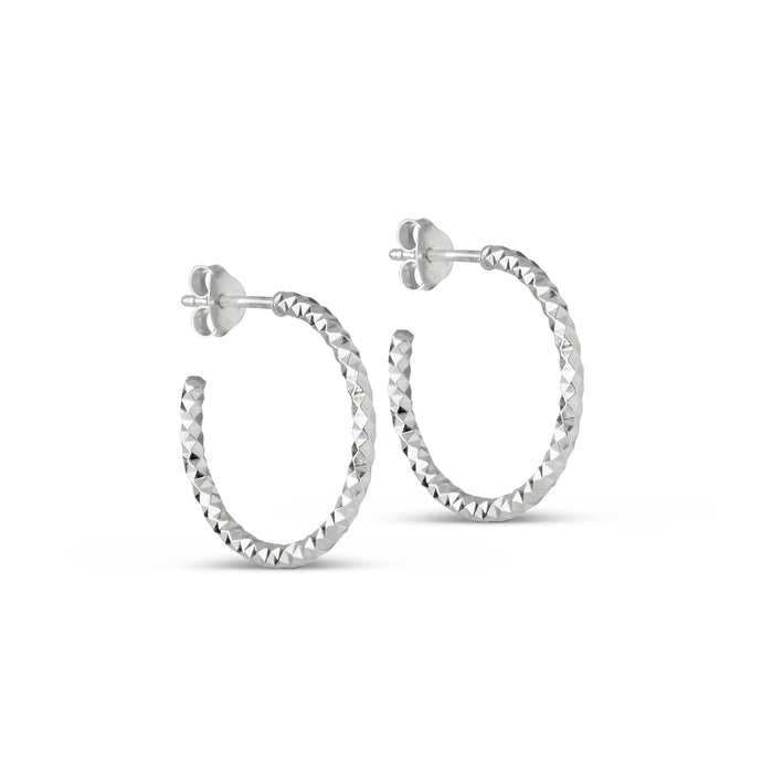 ENAMEL Copenhagen Hoops, Diamond Cut Small Earrings 925S