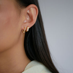 ENAMEL Copenhagen Hoops, Leonora Earrings Pink/White CZ