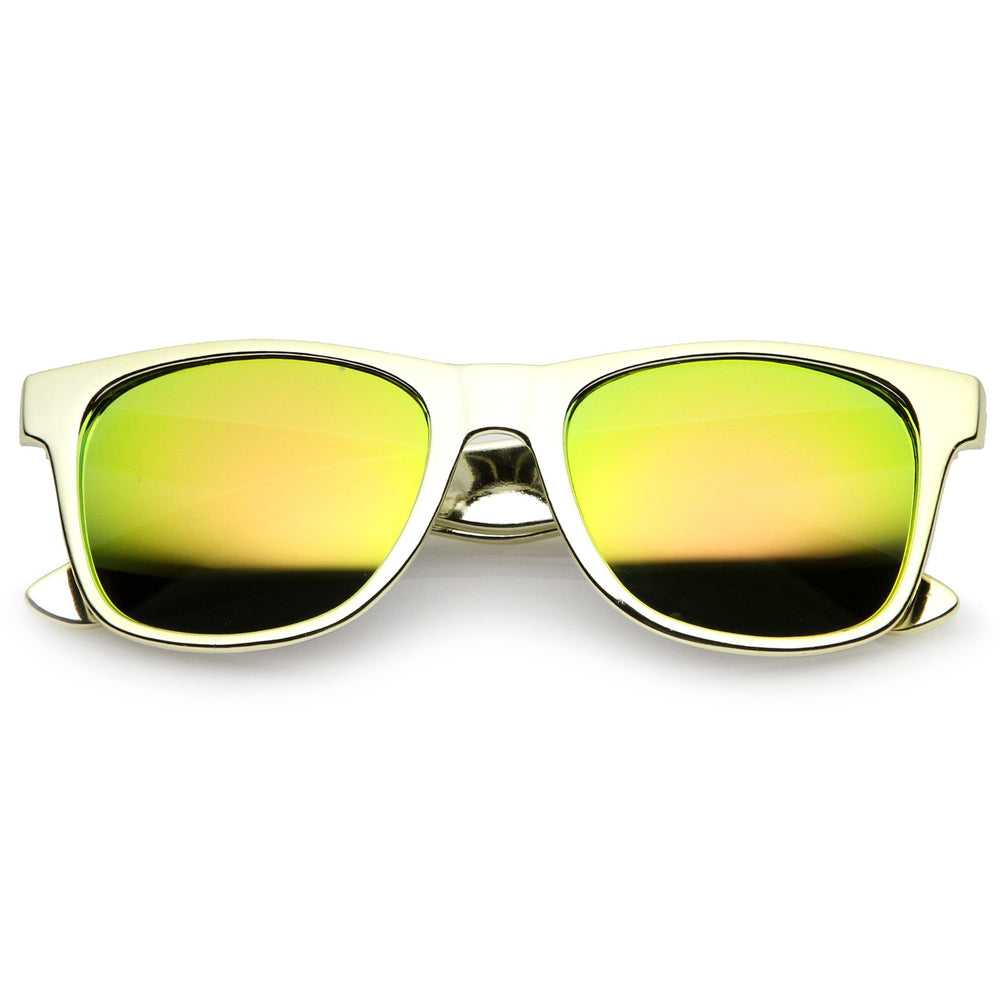 Retro Metallic Square Colored Mirror Lens Horn Rimmed Sunglasses 55mm (Gold / Yellow Mirror)