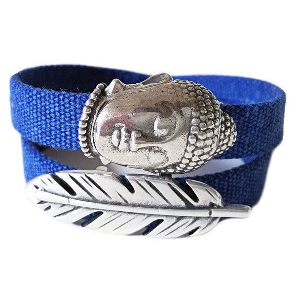 CHAK-WRAPS™ Big Buddha & Feather Denim Bracelet