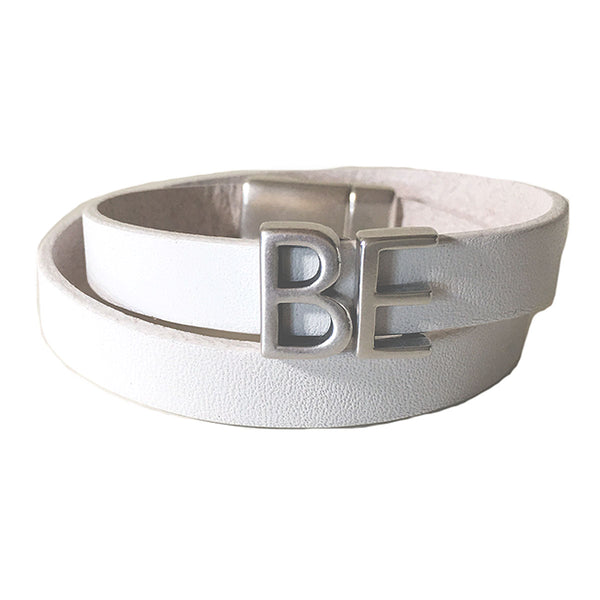 CHAK-WRAPS™ BE Silver Leather Bracelet
