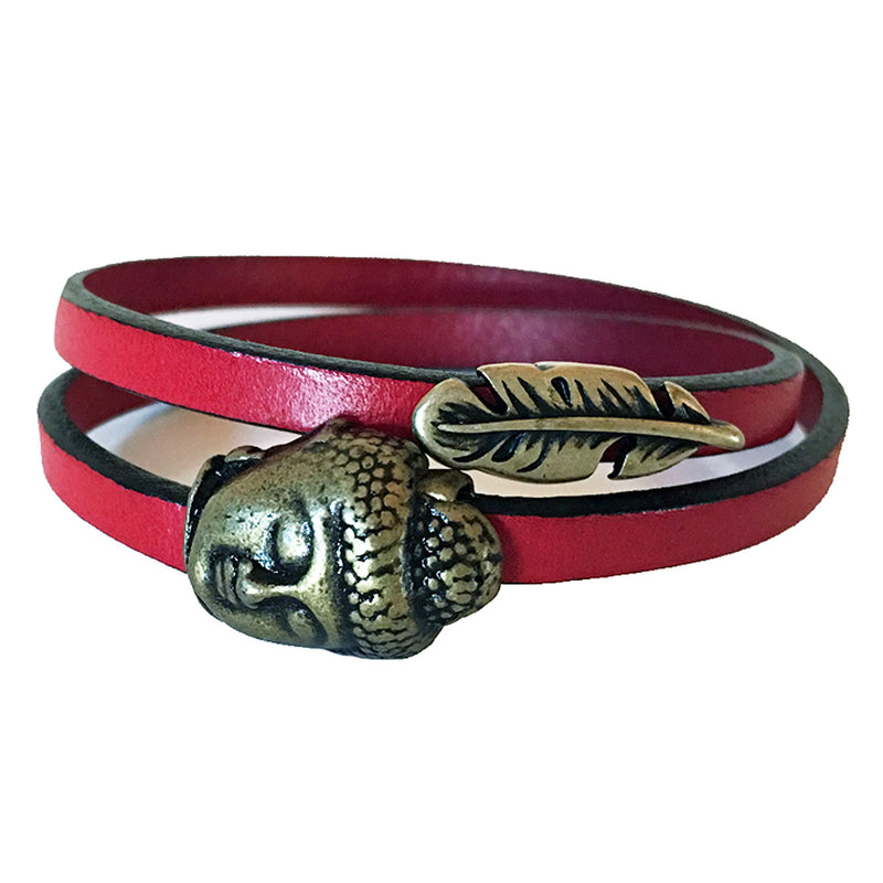 CHAK-WRAPS™ Buddha Feather Brass Leather Bracelet