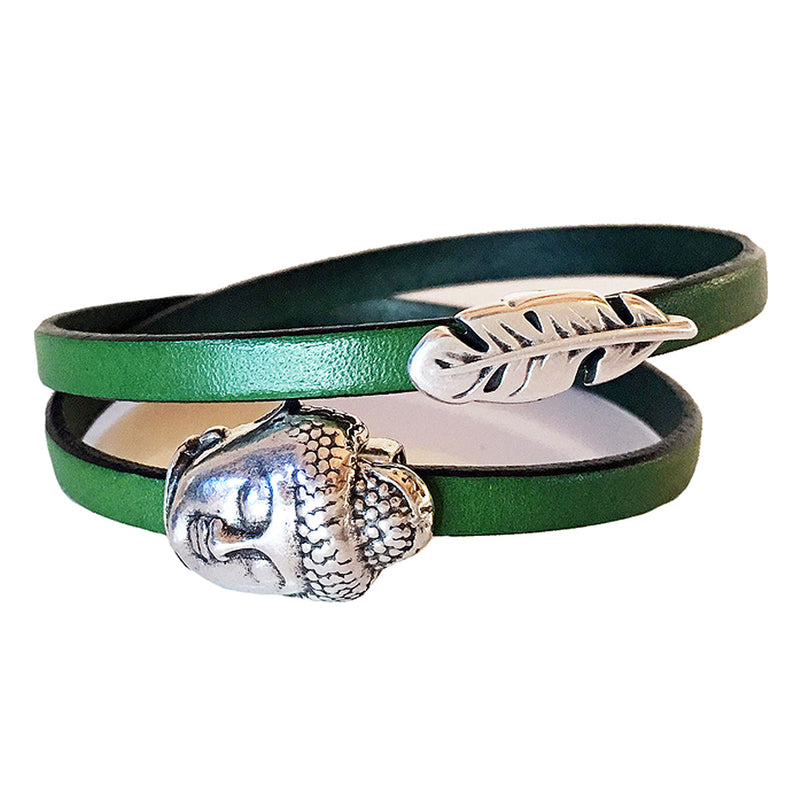 CHAK-WRAPS™ Buddha Feather Silver Leather Bracelet