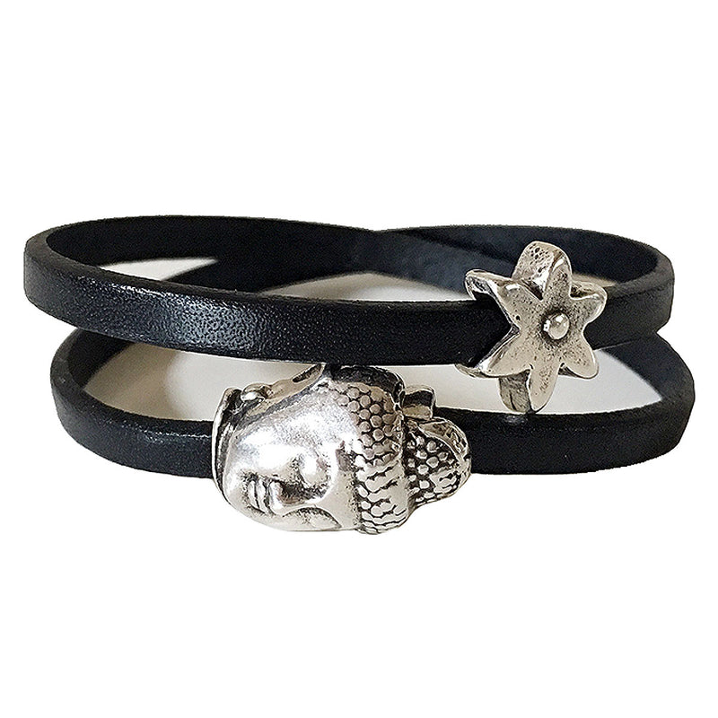 CHAK-WRAPS™ Buddha Star Silver Leather Bracelet