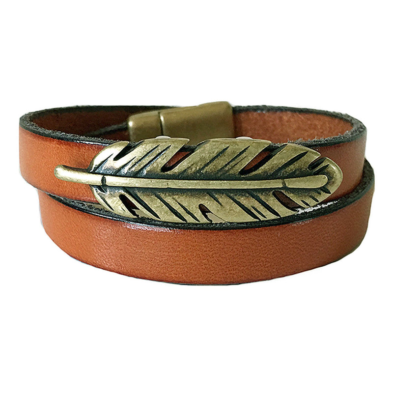 CHAK-WRAPS™ Feather Brass Leather Bracelet