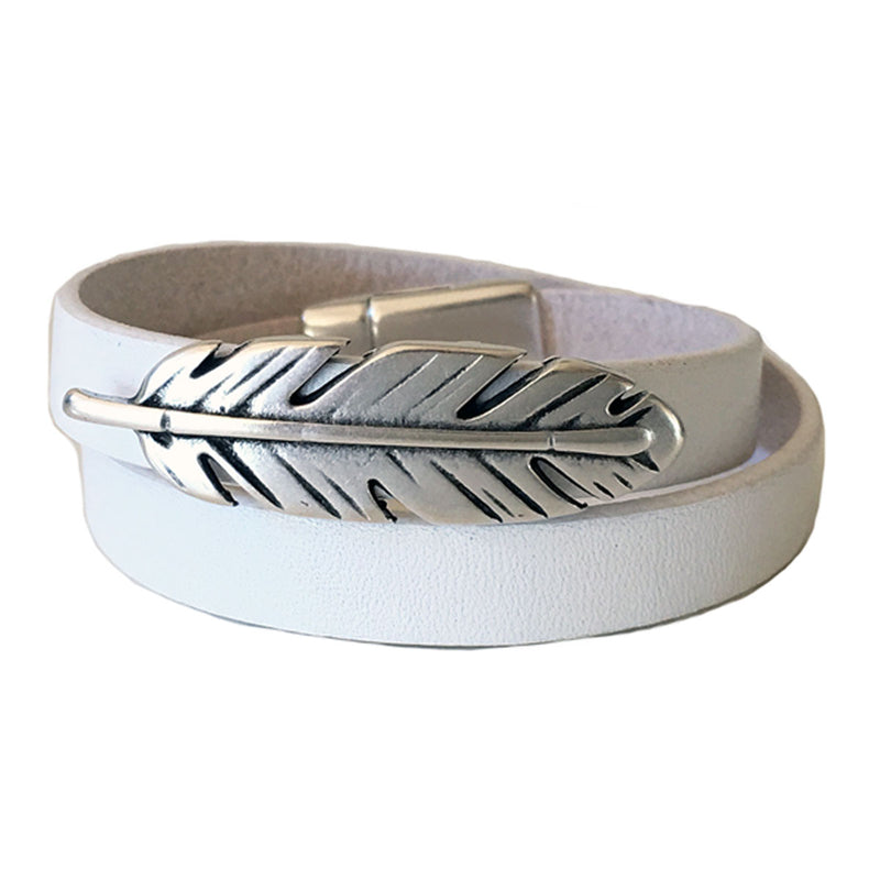CHAK-WRAPS™ Feather Silver Leather Bracelet