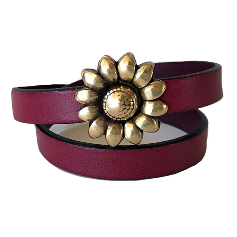 CHAK-WRAPS™ Sunflower Brass Leather Bracelet
