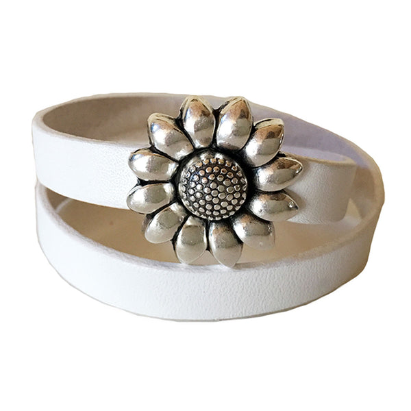 CHAK-WRAPS™ Sunflower Silver Leather Bracelet