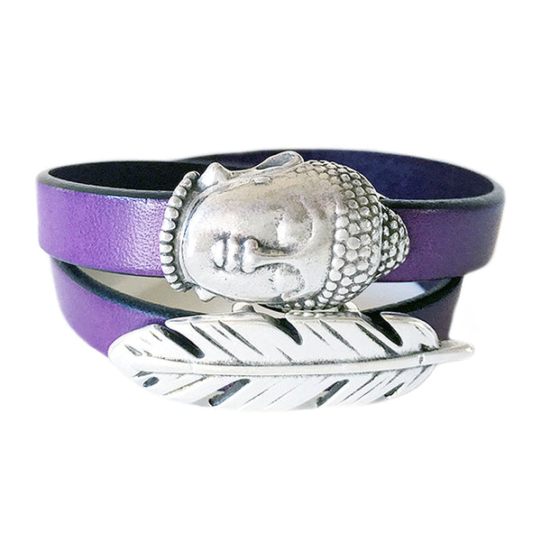 CHAK-WRAPS™ Big Buddha & Feather Silver Leather Bracelet